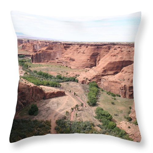 Valley Throw Pillow featuring the photograph Canyon De Chelly Valley View  by Christiane Schulze Art And Photography