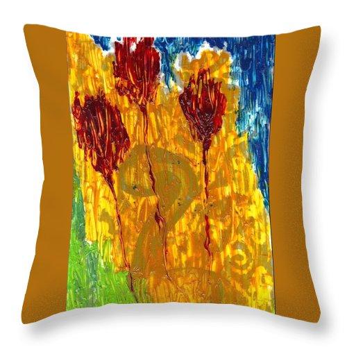 Throw Pillow featuring the mixed media Van Gogh's Garden Of Eden by Lesley Fletcher