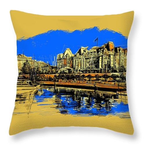 Vancouver Throw Pillow featuring the painting Vancouver Art 001 by Catf