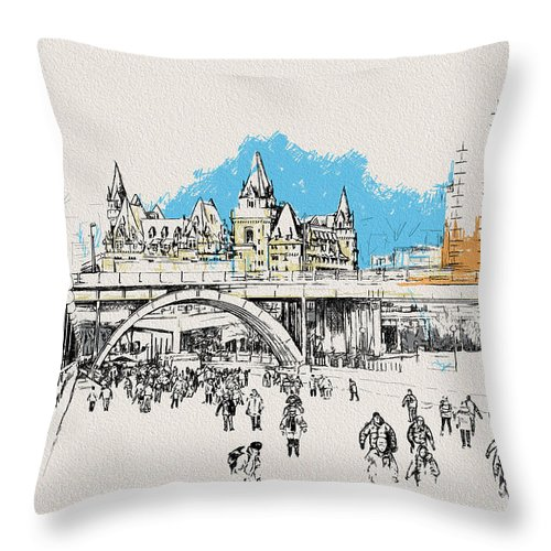 Vancouver Throw Pillow featuring the painting Vancouver Art 003 by Catf