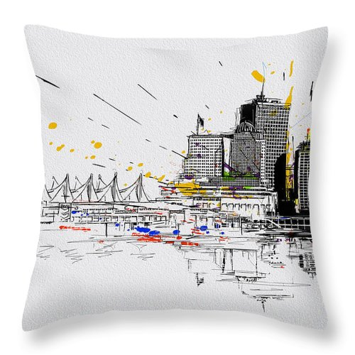 Vancouver Throw Pillow featuring the painting Vancouver Art 004 by Catf