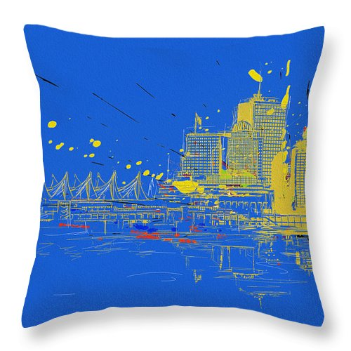 Vancouver Throw Pillow featuring the painting Vancouver Art 005 by Catf