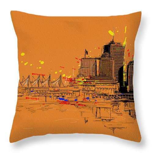 Vancouver Throw Pillow featuring the painting Vancouver Art 006 by Catf