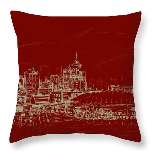 Vancouver Throw Pillow featuring the painting Vancouver Art 007 by Catf