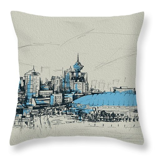 Vancouver Throw Pillow featuring the painting Vancouver Art 008 by Catf