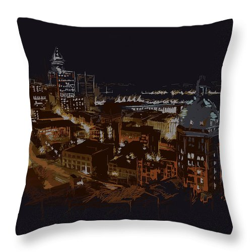 Vancouver Throw Pillow featuring the painting Vancouver Art 009 by Catf