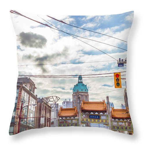 China Town Throw Pillow featuring the photograph Vancouver China Town by Alanna DPhoto