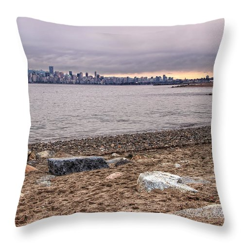 Beautiful Throw Pillow featuring the photograph Vancouver Skyline From Jericho Beach by James Wheeler