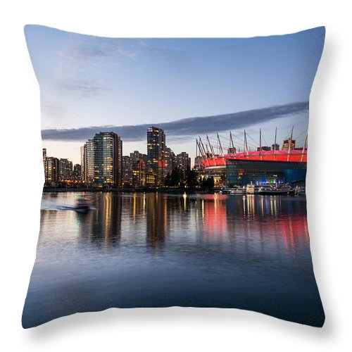 City Skyline Photography Throw Pillow featuring the photograph Vancouver Skyline With Bc Place by Sabine Edrissi