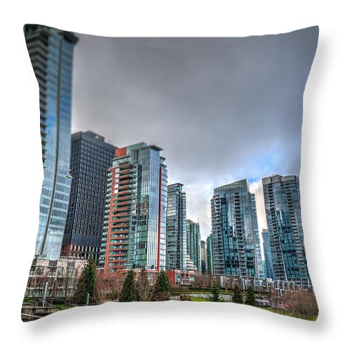 Vancouver Throw Pillow featuring the photograph Vancouver Waterfront by Les Lorek
