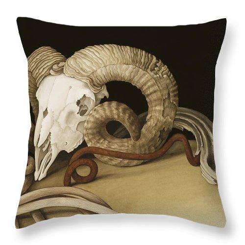 Vanitas Throw Pillow featuring the painting Vanitas by Jenny Barron