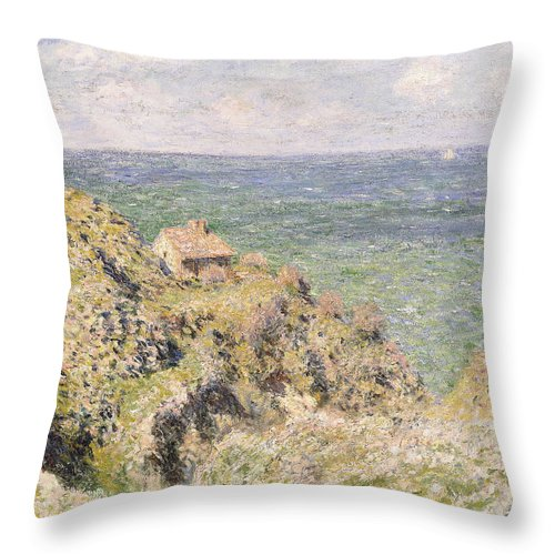 1880s Throw Pillow featuring the painting Varengeville Gorge by Claude Monet