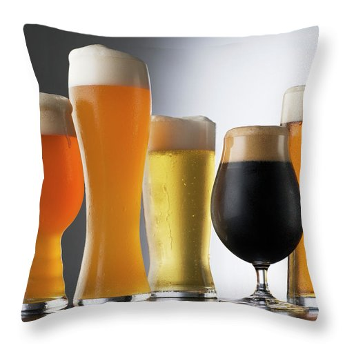 Five Objects Throw Pillow featuring the photograph Variety Of Beer Glasses by Jack Andersen