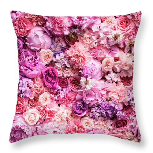 Tranquility Throw Pillow featuring the photograph Various Cut Flowers, Detail by Jonathan Knowles