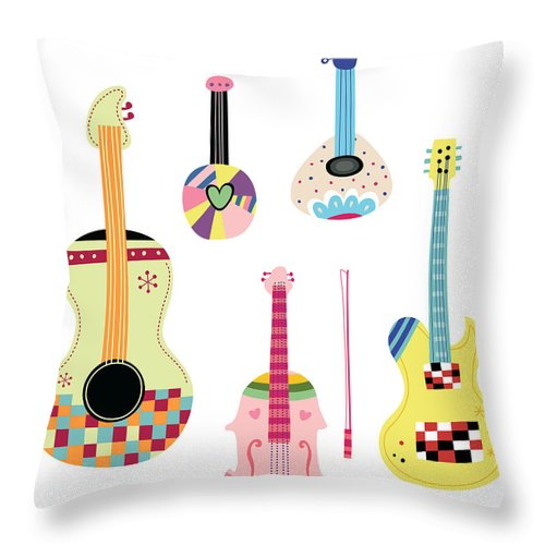 White Background Throw Pillow featuring the digital art Various Kinds Of Stringed Instruments by Eastnine Inc.