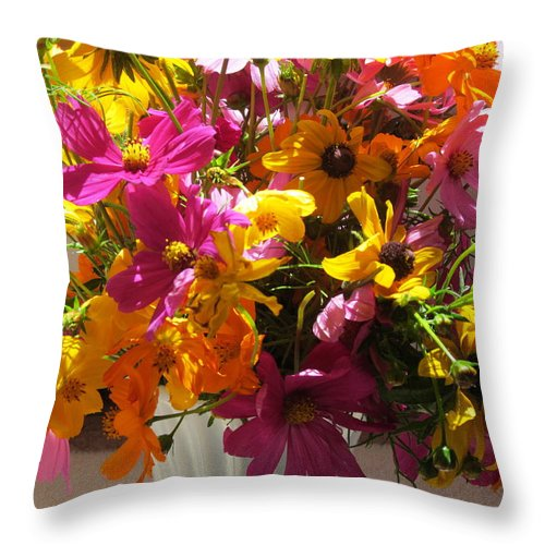 Vases Throw Pillow featuring the photograph Vase Flowers by Tina M Wenger