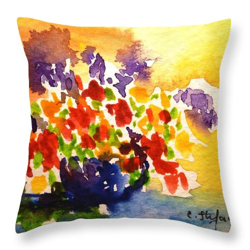 Vase Throw Pillow featuring the painting Vase With Multicolored Flowers by Cristina Stefan