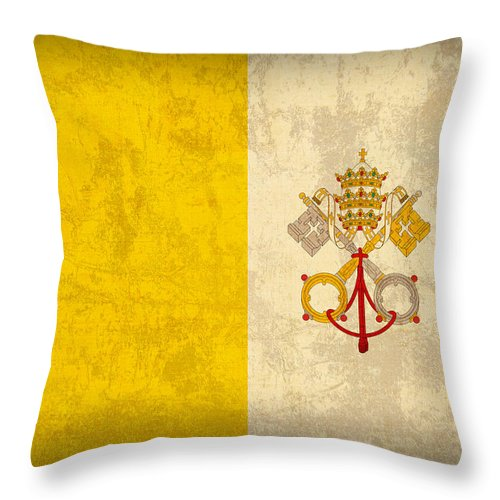 Vatican Throw Pillow featuring the mixed media Vatican City Flag Vintage Distressed Finish by Design Turnpike