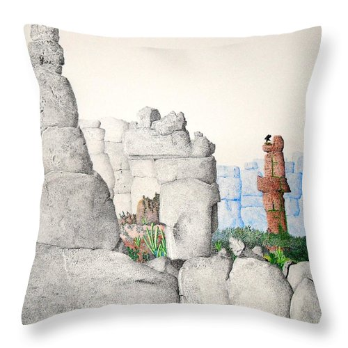 Landscape Throw Pillow featuring the painting Vaulting by A Robert Malcom