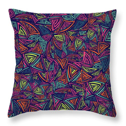 Cool Attitude Throw Pillow featuring the digital art Vector Colorful Seamless Pattern With by Tatiana kost