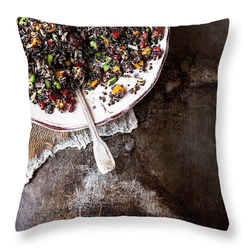 San Francisco Throw Pillow featuring the photograph Vegan Quinoa Salad by One Girl In The Kitchen