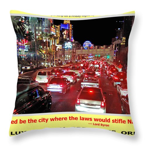 Las Vegas Throw Pillow featuring the photograph Vegas Accursed by Michael Moore