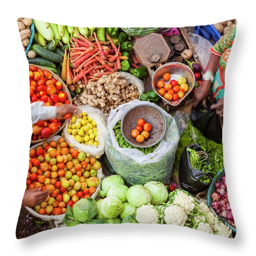 Trading Throw Pillow featuring the photograph Vegetable Stall, Pushkar, Rajasthan by Peter Adams