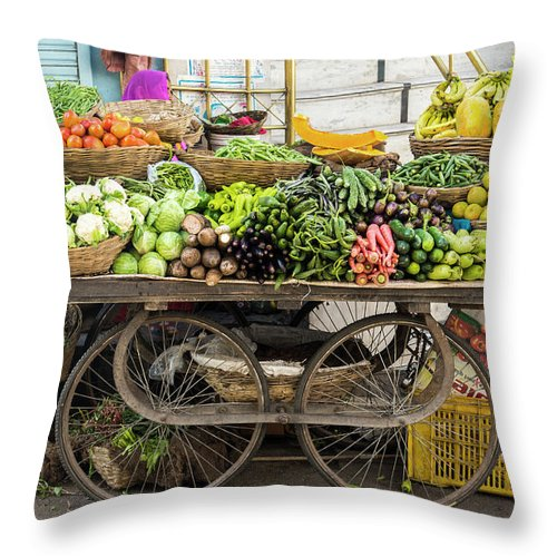 Retail Throw Pillow featuring the photograph Vegetable Trolley, Udaipur, Rajasthan by John Harper