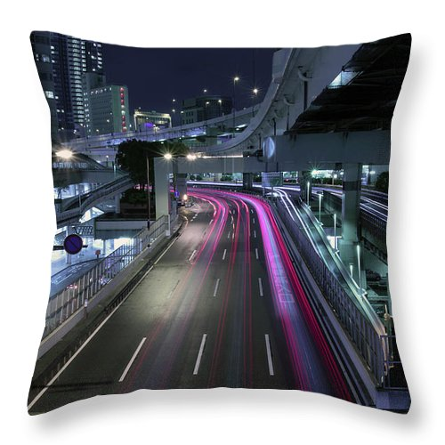 Yokohama Throw Pillow featuring the photograph Vehicle Light Trails On National Route 1 by Digipub
