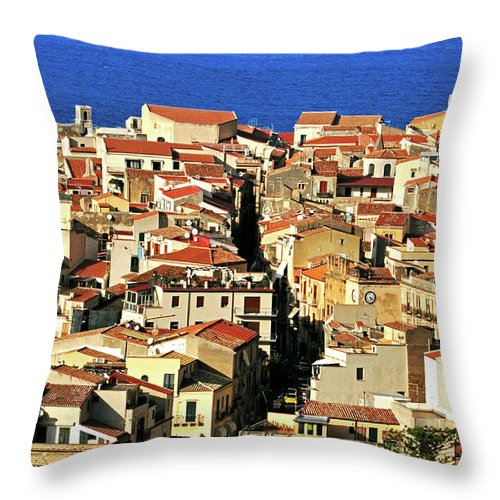 Tyrrhenian Sea Throw Pillow featuring the photograph Veins Of Cefalu by Image Brought To You Through The Eye Of Andrew Parker