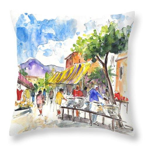 Travel Throw Pillow featuring the painting Velez Rubio Market 02 by Miki De Goodaboom