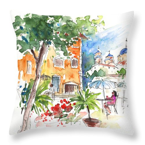 Travel Throw Pillow featuring the painting Velez Rubio Townscape 03 by Miki De Goodaboom