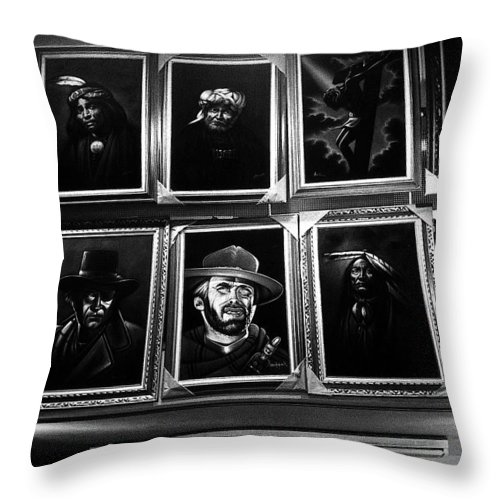 John Wayne Clint Eastwood Paul Newman Jesus Christ Menacing Mexican Bandit Oversized Sombrero Us/mexico Border Town Tijuana Baja California Mexico Black And White Vignetted Traditional Dress Native Americans Throw Pillow featuring the photograph Velvet Paintings Us/mexico Border Town Tijuana Baja California Mexico 1976 by David Lee Guss