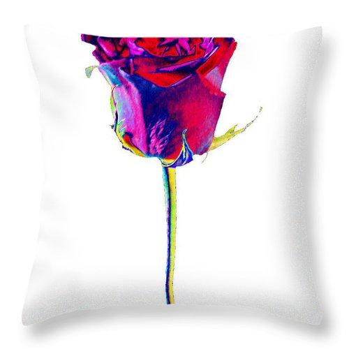 Velvet Throw Pillow featuring the digital art Velvet Rose Bud by Carol Lynch