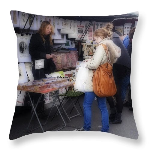 Paris Throw Pillow featuring the photograph Vendor La Rue St. Michel by Hugh Smith