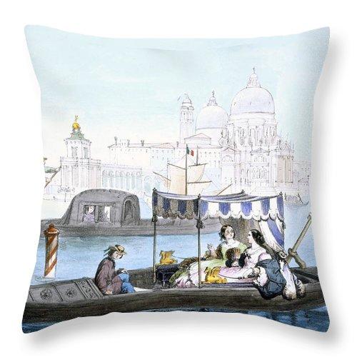 Italian Throw Pillow featuring the drawing Venetian Gondola, From Vedute Dei by Giovanni Battista Cecchini