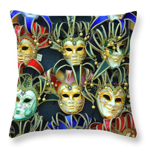 Venice Throw Pillow featuring the photograph Venetian Opera Masks by George Buxbaum