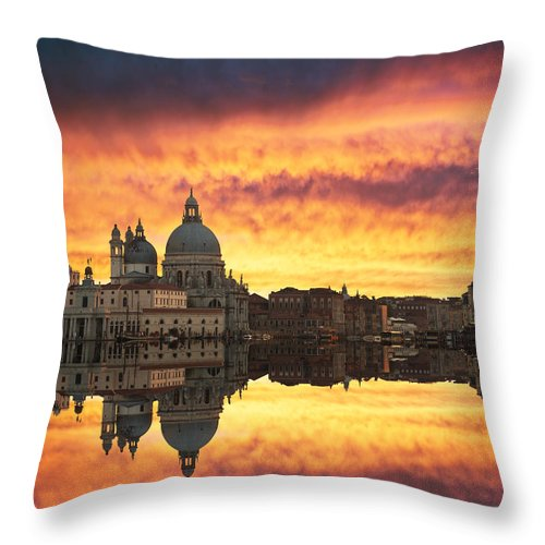 Architectural Throw Pillow featuring the photograph Venetian Reflections by Gurgen Bakhshetsyan