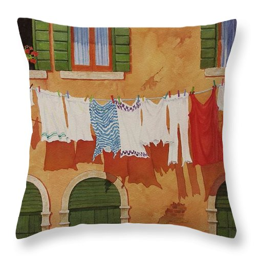 Venice Throw Pillow featuring the painting Venetian Washday by Mary Ellen Mueller Legault
