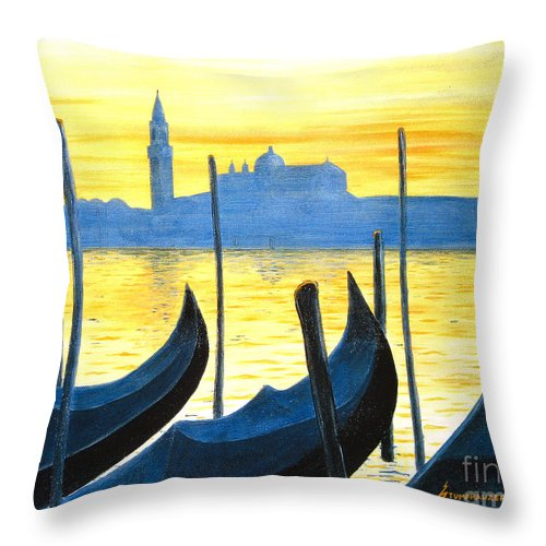 Venice Throw Pillow featuring the painting Venezia Venice Italy by Jerome Stumphauzer