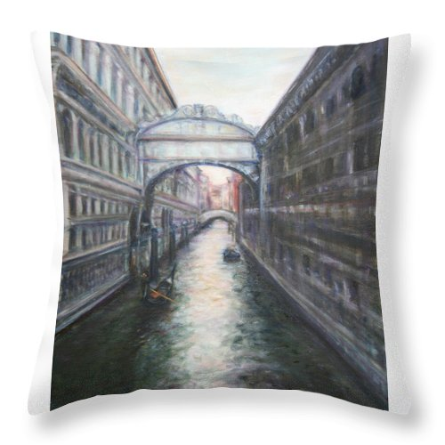 Boat Throw Pillow featuring the painting Venice Bridge Of Sighs - Original Oil Painting by Quin Sweetman