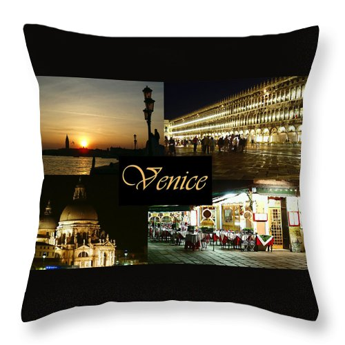 Venice By Night Throw Pillow featuring the photograph Venice By Night by Ellen Henneke