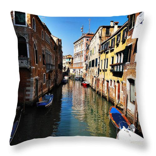 Venice Throw Pillow featuring the photograph Venice Canal by Bill Cannon