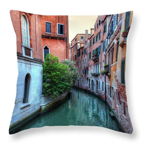 Tranquility Throw Pillow featuring the photograph Venice Canals by Emad Aljumah