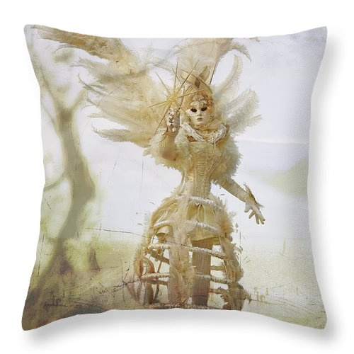 Carnival Throw Pillow featuring the photograph Venice Costume Fun by Linda D Lester