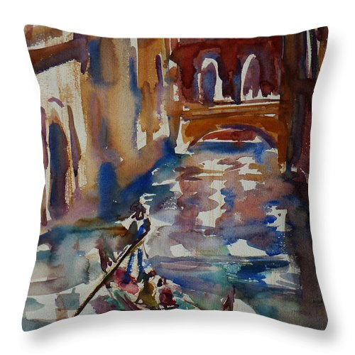 Venice Impression Throw Pillow featuring the painting Venice Impression V by Xueling Zou
