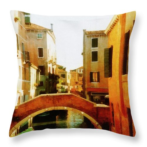Venice Throw Pillow featuring the photograph Venice Italy Canal With Boats And Laundry by Michelle Calkins