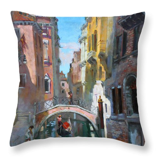 Venice Throw Pillow featuring the painting Venice Italy by Ylli Haruni