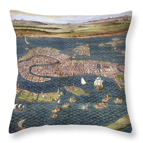 16th Century Throw Pillow featuring the photograph Venice: Map, 16th Century by Granger