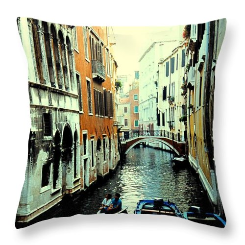 Venice Throw Pillow featuring the photograph Venice Street Scene by Ian MacDonald